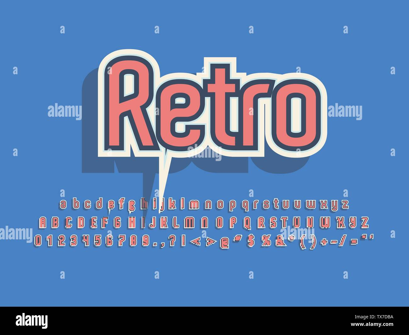 Retro font and alphabet. Stock vector illustration - Stock Image