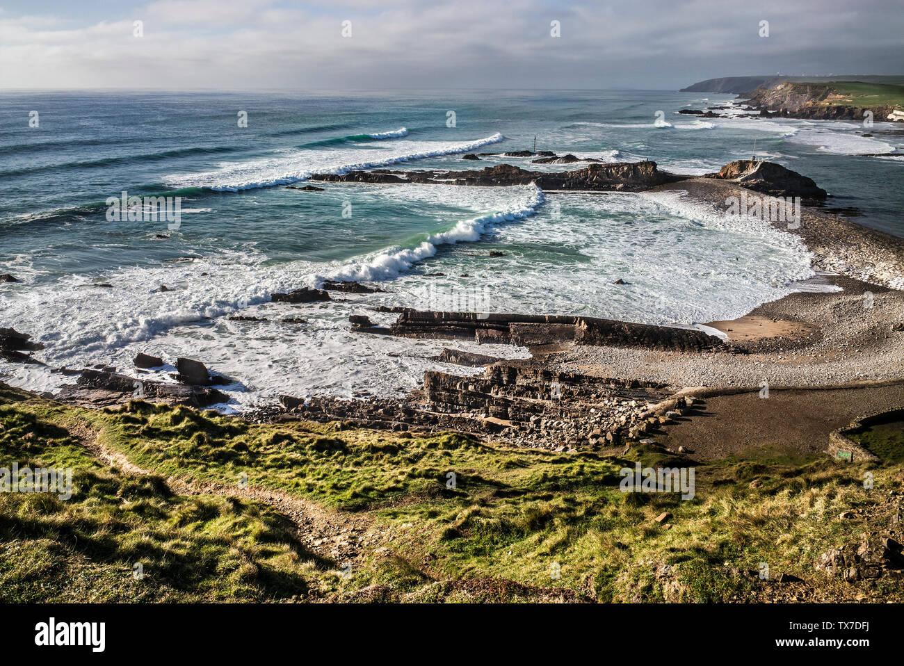 coastline on coastal path south of bude Cornwall, Stock Photo