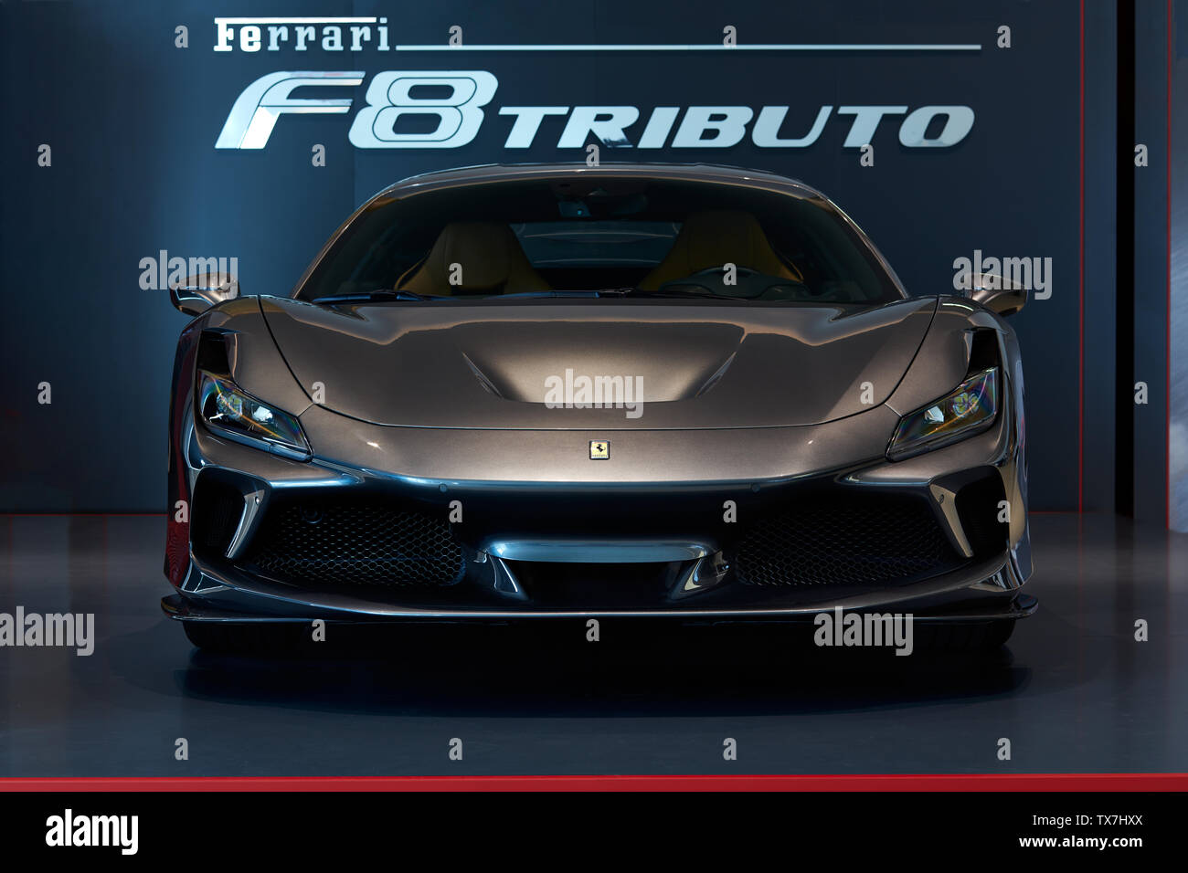 Katowice/Poland- 06.14.2019: Polish premier of Ferrari F8 Tributo - Stock Image