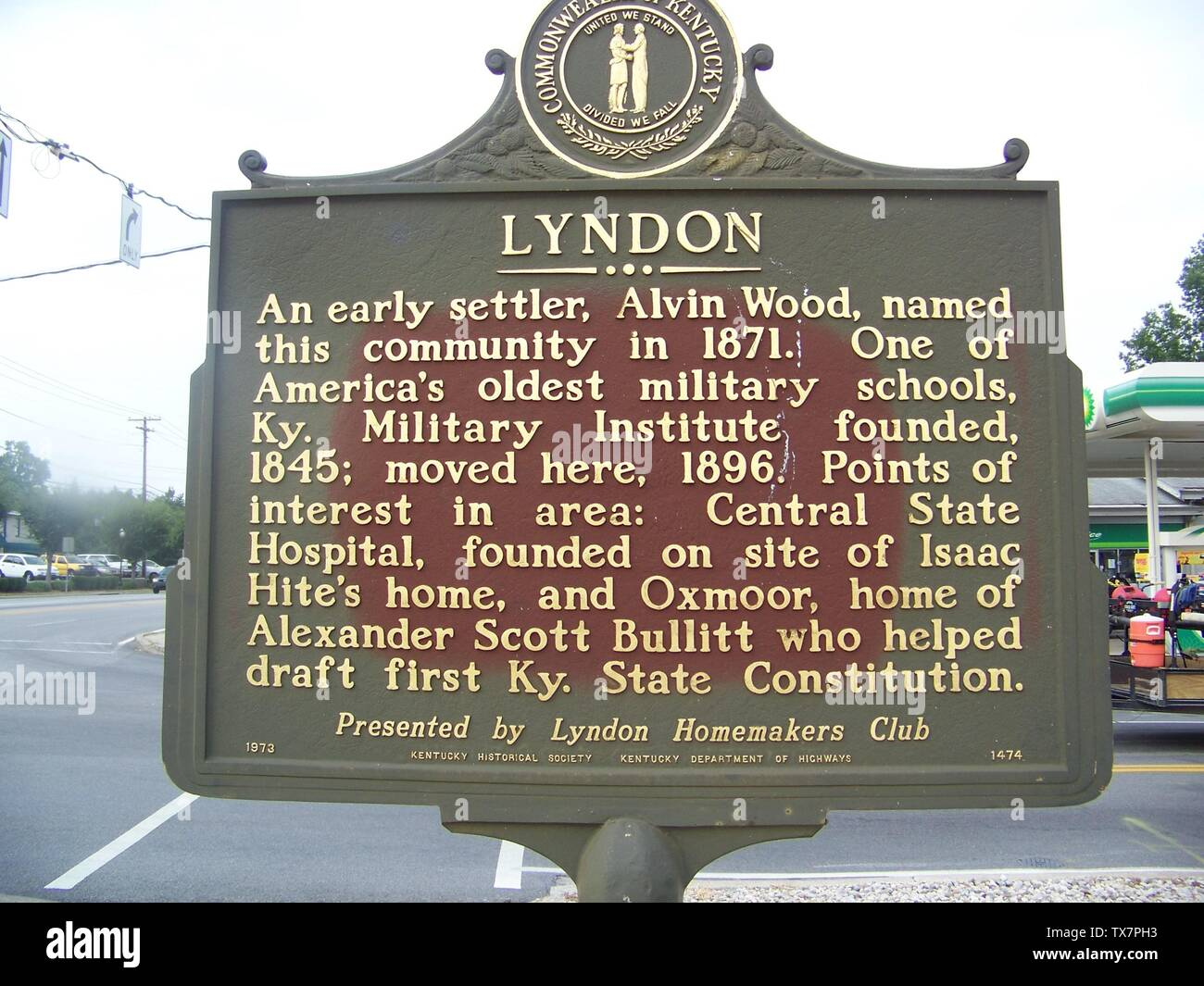 'English: Commonwealth of Kentucky Historical marker reads: Lyndon An early settler, Alvin Wood, named this community in 1871. One of America's oldest military schools, Ky. Military Institute founded, 1845; moved here , 1896. Points of interest in area: Central State Hospital, founded on site of Isaac Hite's home, and Oxmoor, home of Alexander Scott Bullitt who helped draft first Ky State Constitution.  Presented by Lyndon Homemakers Club  1973 - Kentucky Historical Society - Kentucky Department of Highways - 1474; 21 August 2008; Own work (Original text:  I created this work entirely by mysel - Stock Image