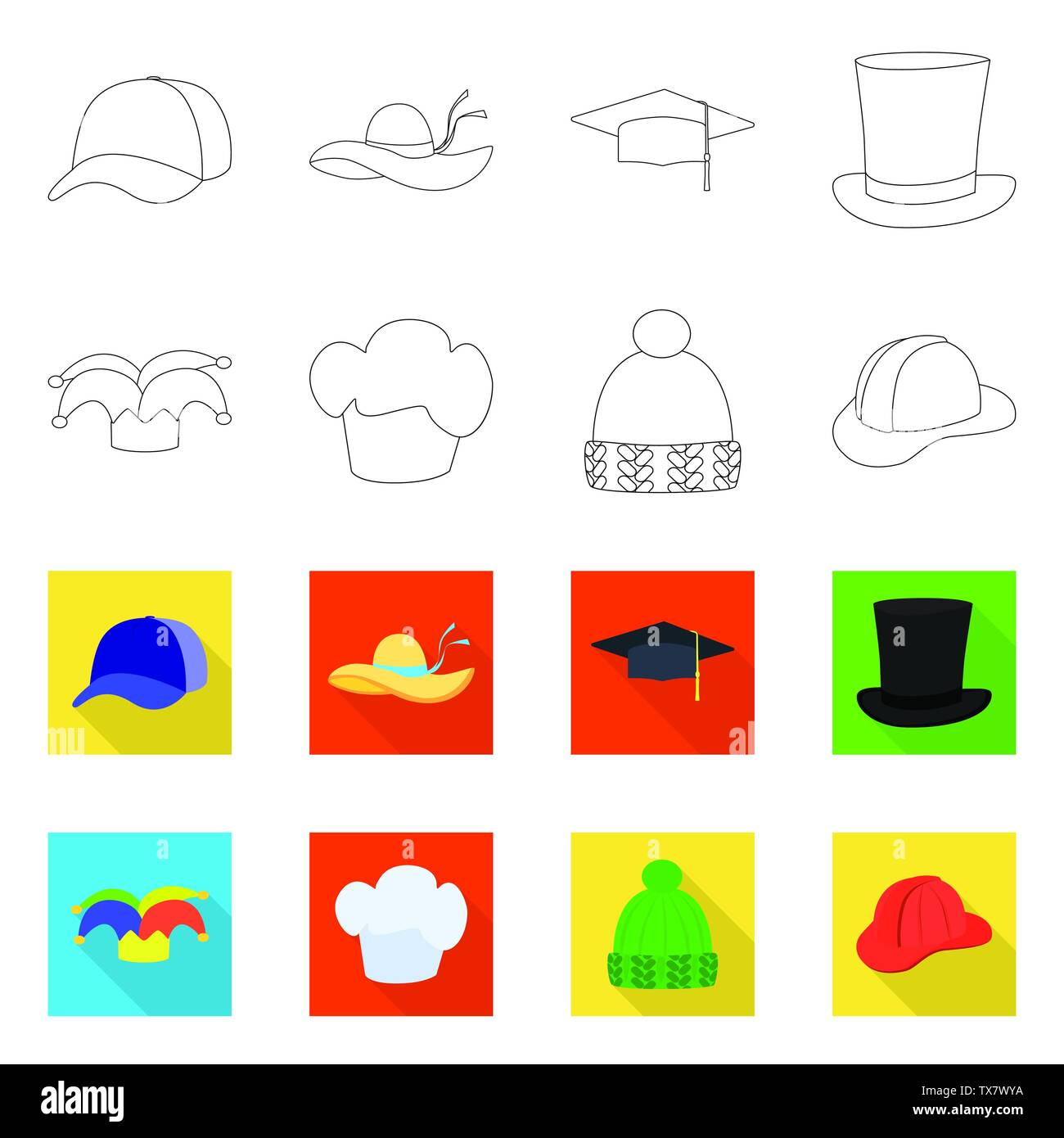 Vector illustration of clothing and cap symbol. Set of clothing and beret stock symbol for web. - Stock Vector