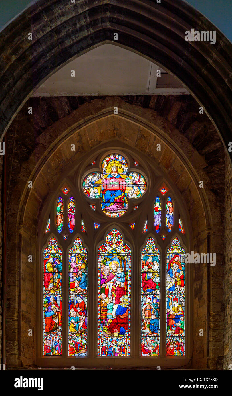 The Victoria Window, a stained glass window in St Giles & St Nicholas Church, Sidmouth, a small south coast seaside town in Devon, south-west England Stock Photo