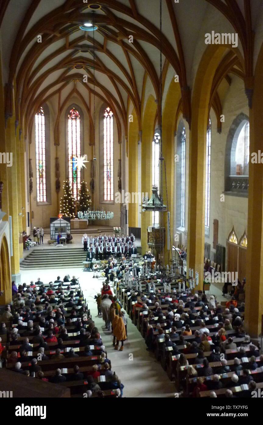 'Deutsch: Langschiff der Stadtkirche St. Michael Jena am 1. Weihnachtsfeiertag 2012, Weihnachtsgesichte von Carl Orff; 24 December 2012; Drahnier; Drahnier; ' - Stock Image