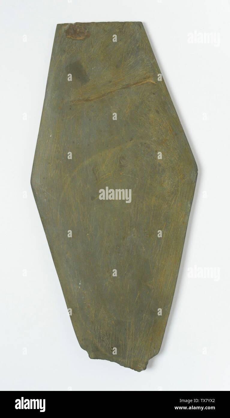 'Large Rhomboidal Palette; Tools and Equipment; palettes Schist Height:  12 3/8 in. (31.5 cm) Gift of Robert Blaugrund (M.80.196.28) Egyptian Art; ' - Stock Image