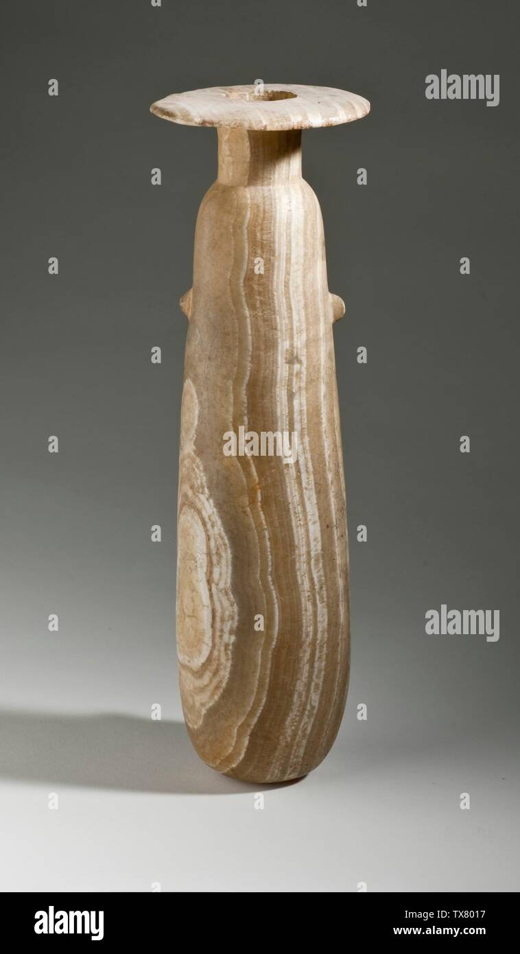 'Large Alabastron; Egypt, 26th Dynasty, 664-525 B.C. Furnishings; Serviceware Calcite Height: 11 in. (28 cm); Diameter: 9 in. (22.8 cm) The Nasli M. Heeramaneck Collection, gift of Joan Palevsky (M.73.5.354) Egyptian Art Currently on public view: Hammer Building, floor 3; 664-525 B.C.; ' - Stock Image