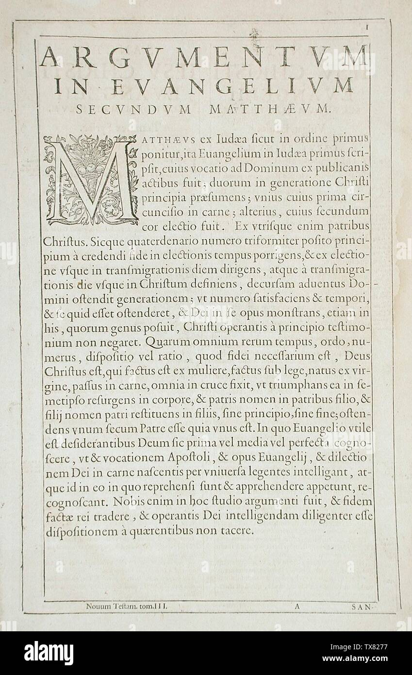 'Leaf from Argumentum in Evangelium; English:  Flanders, circa 1600 Prints Letterpress and engraved ornamental letter Gift of Abbey Rents (M.64.3.4) Prints and Drawings; circa 1600 date QS:P571,+1600-00-00T00:00:00Z/9,P1480,Q5727902; ' - Stock Image