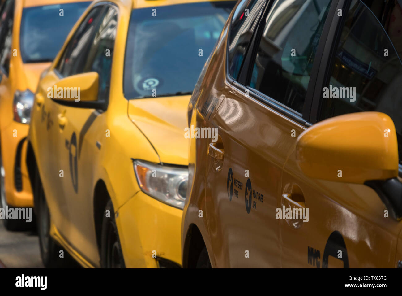 New York City Yellow Taxicabs, Manhattan, New York, USA Stock Photo