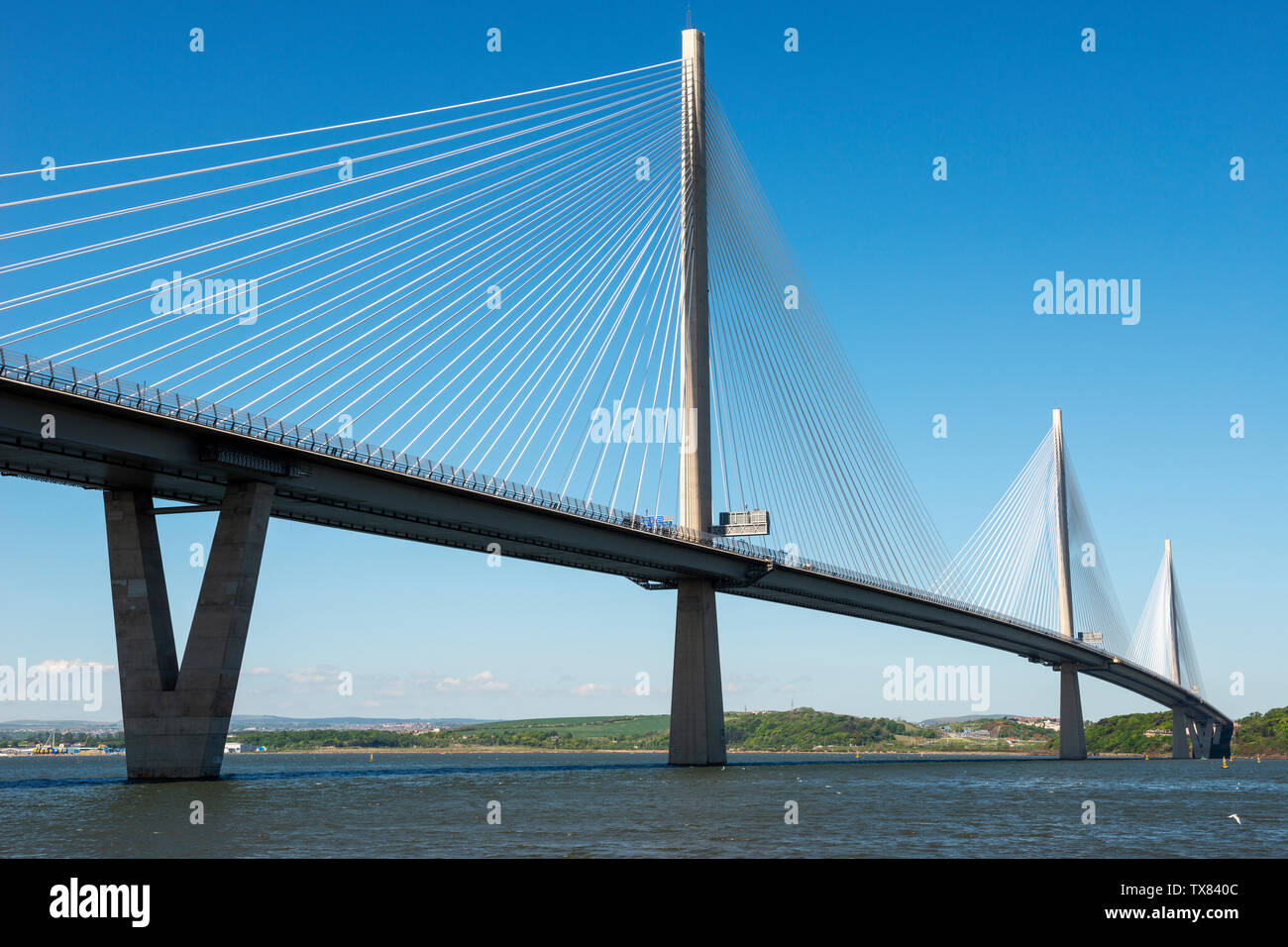 New Queensferry Crossing road bridge spanning River Forth viewed from Port Edgar, Queensferry, Scotland, UK Stock Photo