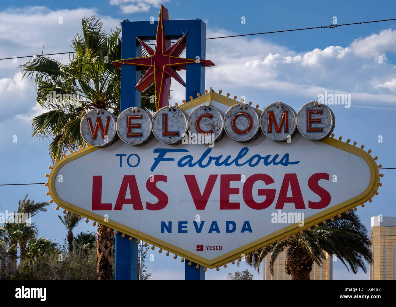 The famous Welcome to Fabulous Las Vegas sign, Las Vegas Boulevard, Las Vegas, Nevada, USA Stock Photo