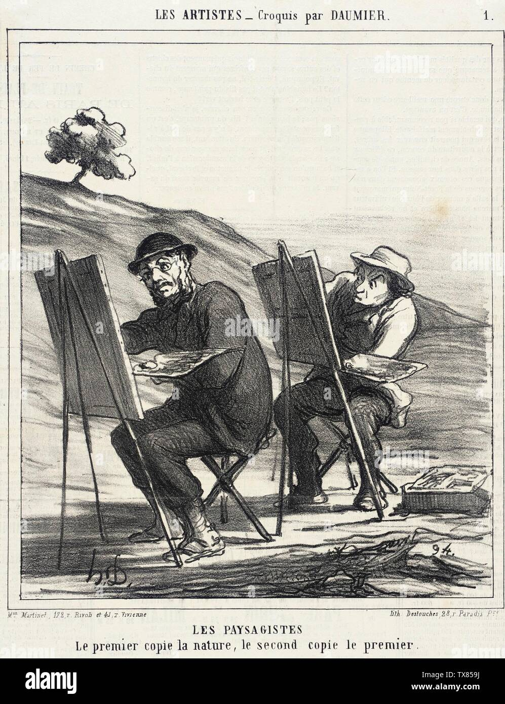 'Les Paysagistes. Le premier copie la nature...; English:  France, 1865 Series: Les Artistes Periodical: Le Charivari, 12 May 1865 Prints; lithographs Lithograph Sheet: 9 1/8 x 7 13/16 in. (23.18 x 19.84 cm) Gift of Mrs. Florence Victor from The David and Florence Victor Collection (M.91.82.324) Prints and Drawings; 1865date QS:P571,+1865-00-00T00:00:00Z/9; ' - Stock Image