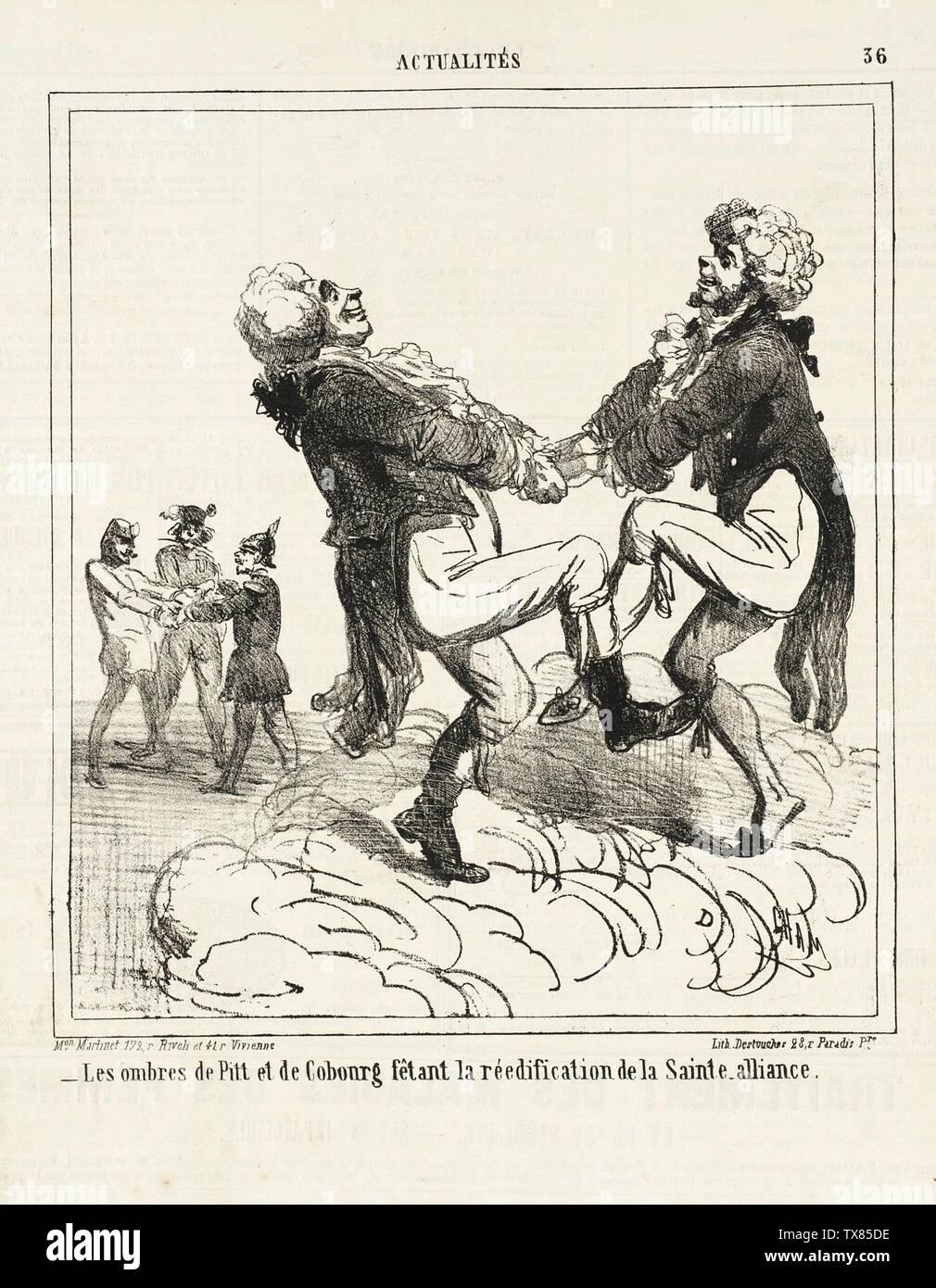 'Les ombres de Pitt et de Cobourg fêtant la réedification de le Sainte-alliance.; English:  France, 1864 Series: Actualités Periodical: Le Charviari, Monday, 7 March 1864 Prints; lithographs Lithograph Gift of George Longstreet (M.76.132.106) Prints and Drawings; 1864date QS:P571,+1864-00-00T00:00:00Z/9; ' - Stock Image