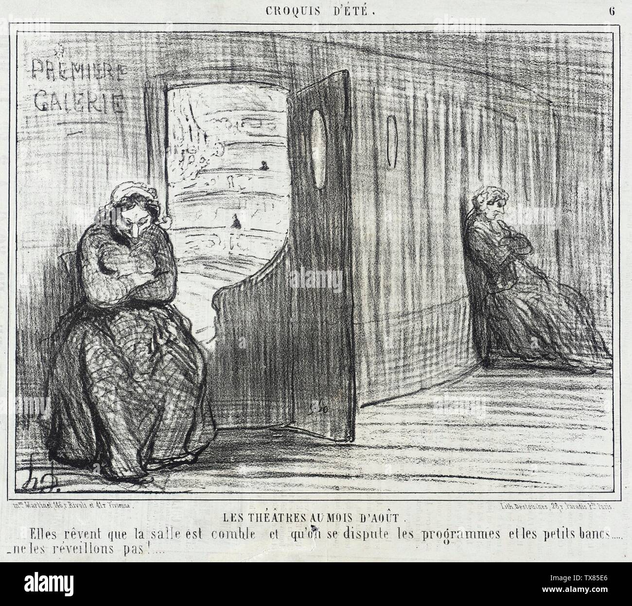 'Les Théâtres au mois d'Août; English:  France, 1856 Series: Croquis d'été Periodical: Le Charivari, 21 August 1856 Prints; lithographs Lithograph Sheet: 7 13/16 x 10 1/8 in. (19.84 x 25.72 cm) Gift of Mrs. Florence Victor from The David and Florence Victor Collection (M.91.82.295) Prints and Drawings; 1856date QS:P571,+1856-00-00T00:00:00Z/9; ' - Stock Image