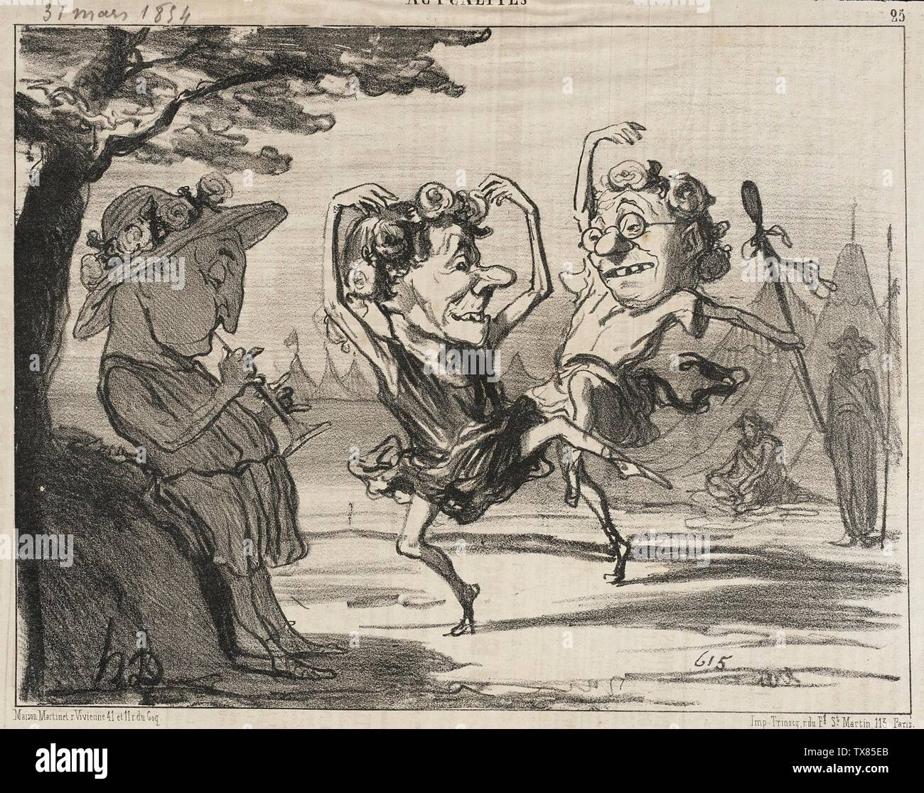 'Les trois Disciples de Mr. Cobdem se livrant...; English:  France, 1854 Series: Les Cosaques pour rire, no. 2 Periodical: Le Charivari, 28 March 1854 Prints; lithographs Lithograph Sheet: 8 1/8 x 10 5/8 in. (20.64 x 26.99 cm) Gift of Mrs. Florence Victor from The David and Florence Victor Collection (M.91.82.284) Prints and Drawings; 1854date QS:P571,+1854-00-00T00:00:00Z/9; ' - Stock Image