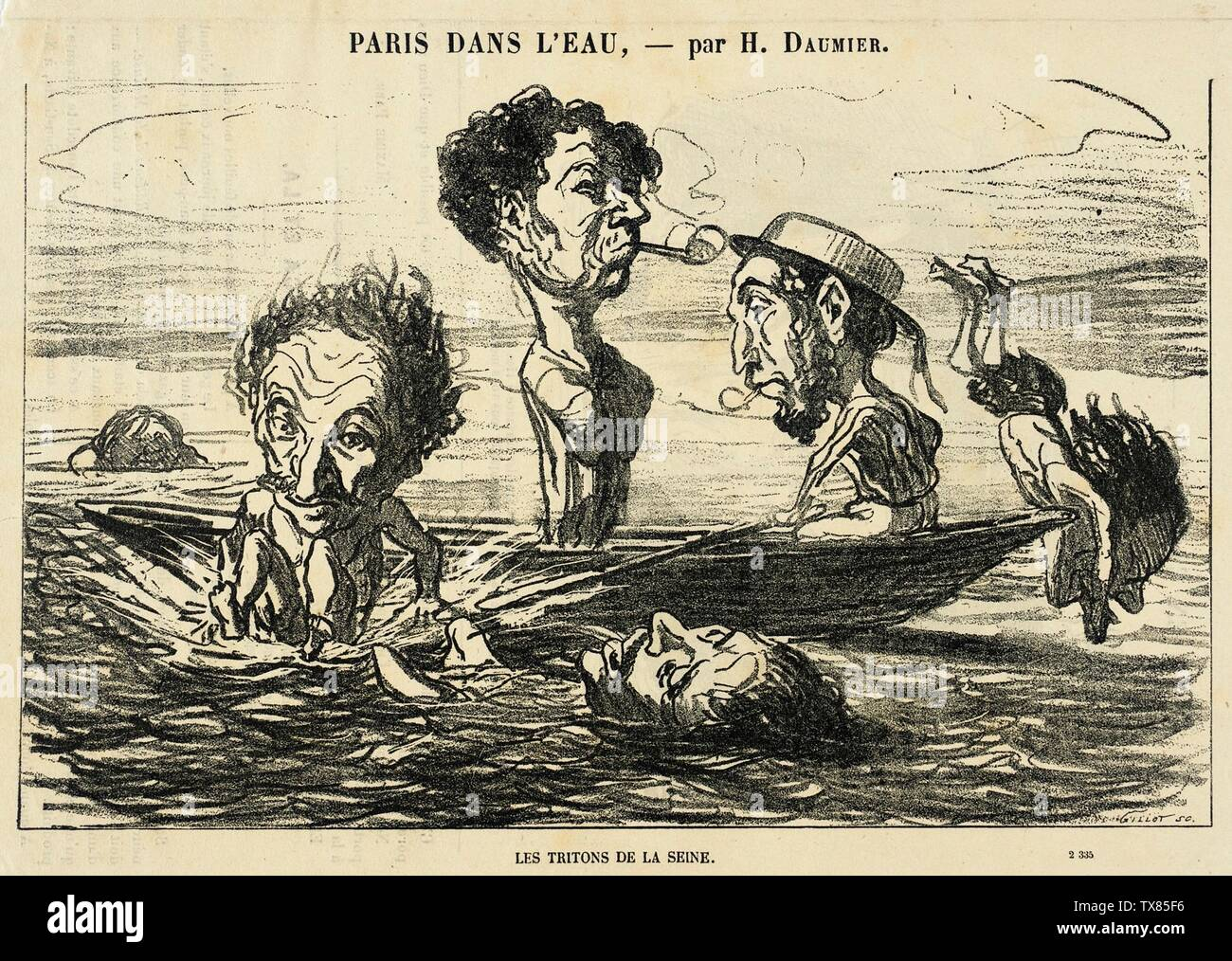 'Les Tritons de la Seine; English:  France, 1864 Series: Paris dans l'eau Periodical: Petit Journal, 9 July 1864 Prints; lithographs Lithograph Sheet: 6 1/16 x 9 3/4 in. (15.4 x 24.77 cm) Gift of Mrs. Florence Victor from The David and Florence Victor Collection (M.91.82.323) Prints and Drawings; 1864date QS:P571,+1864-00-00T00:00:00Z/9; ' - Stock Image
