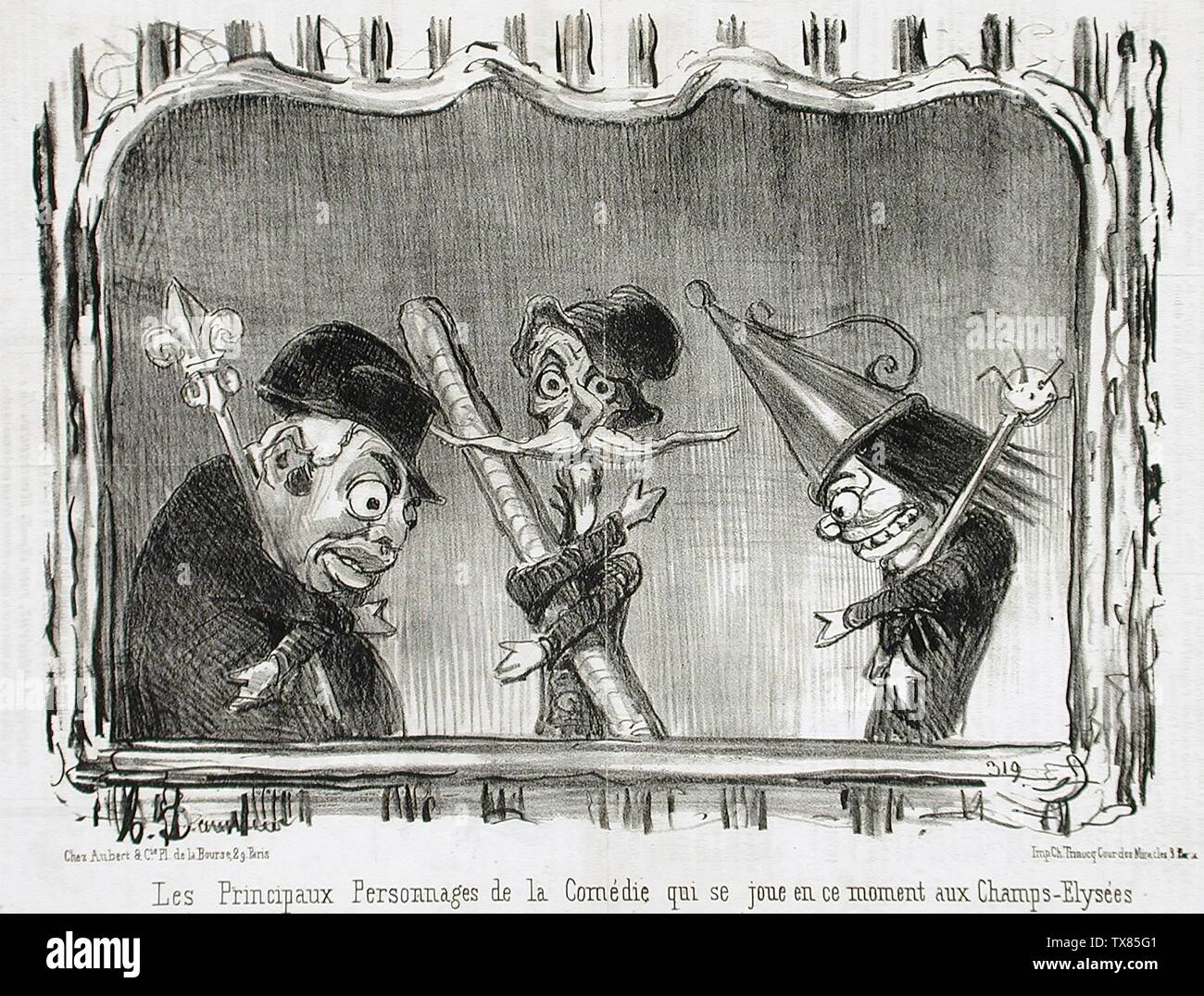 'Les principaux personnages de la Comédie...; English:  France, 1851 Series: Actualités Periodical: Le Charivari, 8 October 1851 Prints; lithographs Lithograph Sheet: 8 1/16 x 11 7/16 in. (20.48 x 29.05 cm) Gift of Mrs. Florence Victor from The David and Florence Victor Collection (M.91.82.249) Prints and Drawings; 1851date QS:P571,+1851-00-00T00:00:00Z/9; ' - Stock Image
