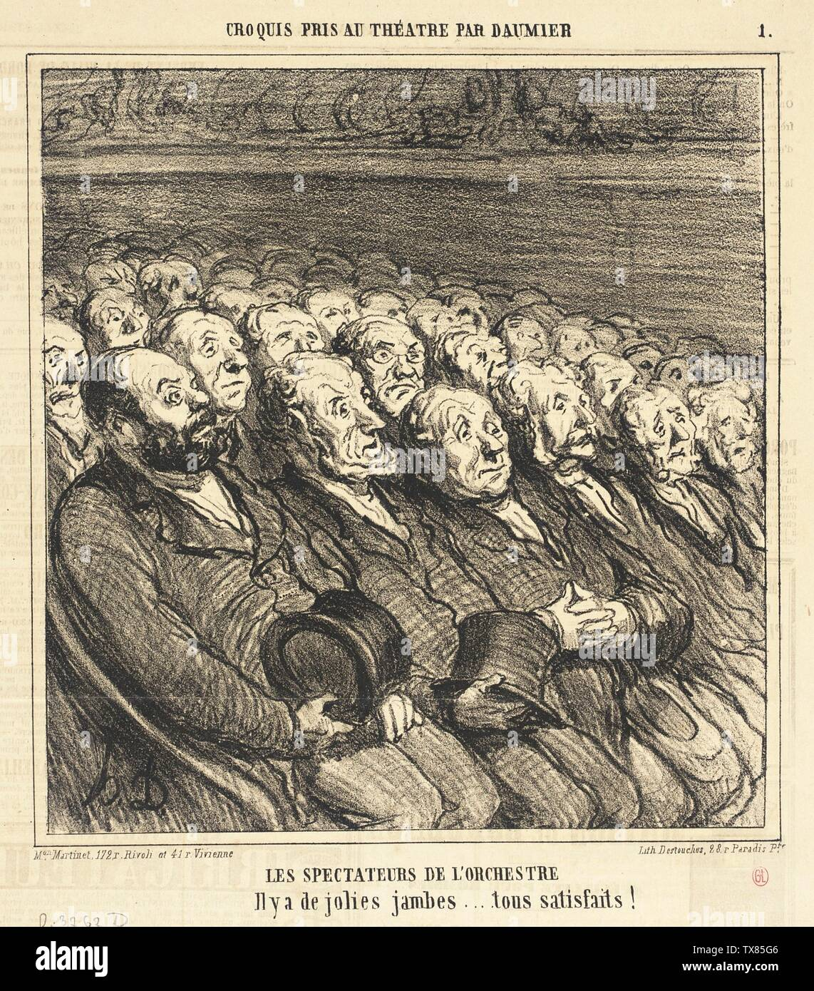 'Les Spectateurs de l'orchestre; English:  France, 1864 Series: Croquis pris au théâtre Periodical: Le Charivari, 9 April 1864 Prints; lithographs Lithograph Sheet: 9 x 8 1/2 in. (22.86 x 21.59 cm) Gift of Mrs. Florence Victor from The David and Florence Victor Collection (M.91.82.315) Prints and Drawings; 1864date QS:P571,+1864-00-00T00:00:00Z/9; ' - Stock Image