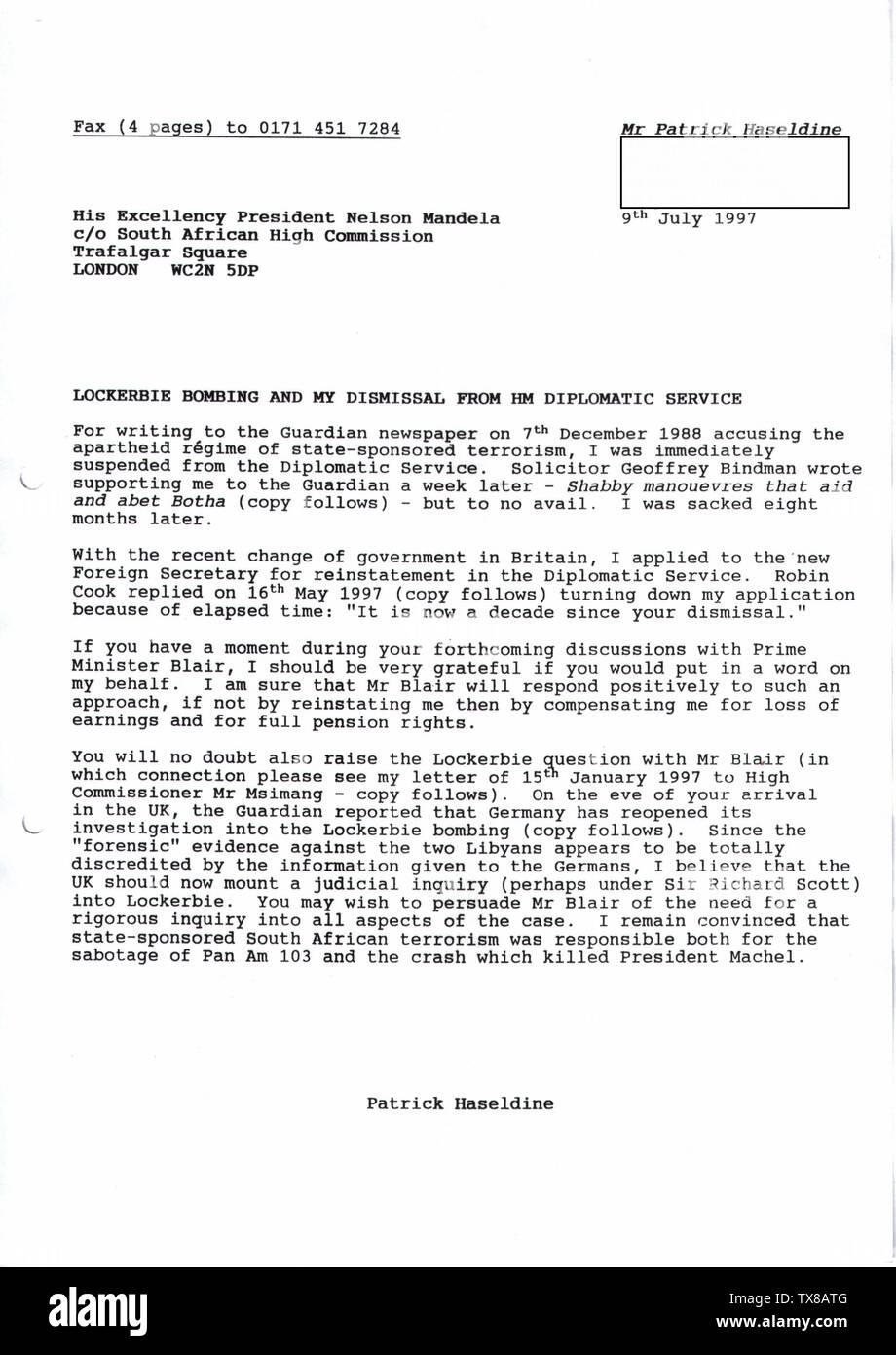 'English: To coincide with President Nelson Mandela's visit to London in July 1997, I wrote to him c/o the South African High Commission on the subjects of the Lockerbie bombing and my dismissal from HM Diplomatic Service. The Administrative Secretary in the Office of the President in Cape Town replied on 22 August 1997 as follows: I acknowledge with thanks receipt of the letter dated 9 July 1997 which you addressed to the President. The matter will be brought to his attention as soon as possible.PJHaseldine (talk) 15:12, 24 June 2008 (UTC); 24 June 2008 (original upload date); Transferred fro - Stock Image