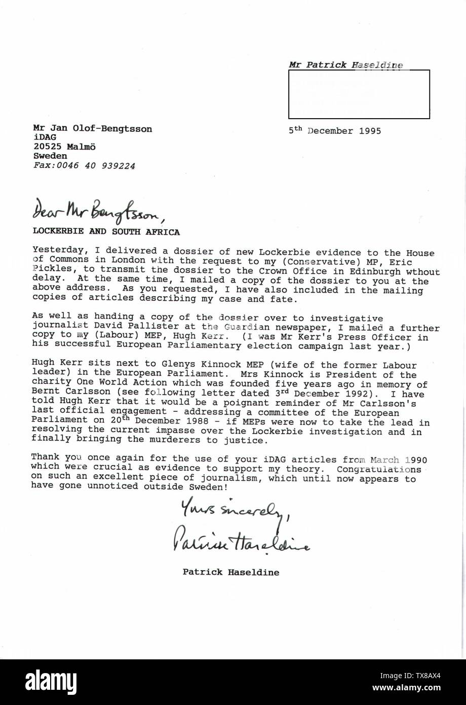 'English: On 5 December 1995, I sent this letter to Swedish journalist Jan-Olof Bengtsson together with a copy of my dossier of new evidence to confirm South Africa's involvement in the Lockerbie bombing. Much of the evidence in the dossier was based upon three articles Bengtsson had written in the iDAG newspaper in March 1990 concerning Pan Am Flight 103's most prominent victim: UN Commissioner for Namibia, Bernt Carlsson.PJHaseldine (talk) 14:19, 24 June 2008 (UTC); 24 June 2008 (original upload date); Transferred from en.wikipedia to Commons.; PJHaseldine at English Wikipedia; ' - Stock Image