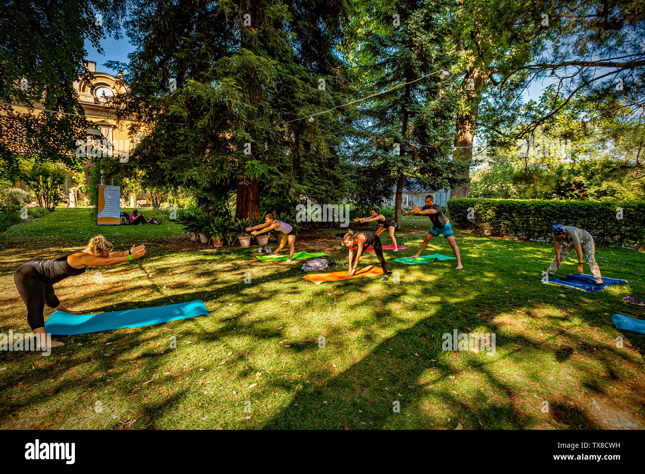 Italy Piedmont Turin Valentino Botanical garden - Wellness activity at the botanical garden - Stock Image