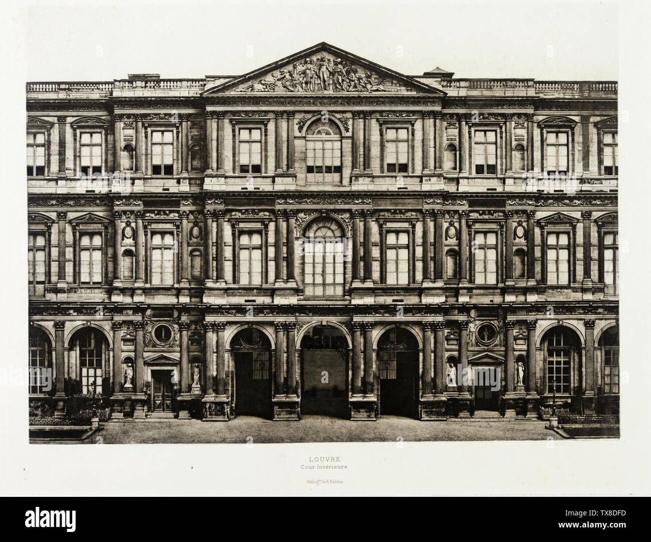 Louvre, cour intèrieure; South facade of the Pavillon de Marengo on the north side of the Cour Carrée of the Louvre in Paris France, circa 1856 Photographs Photogravure Image: 14 3/4 x 19 in. (37.47 x 48.26 cm); Sheet: 17 1/2 x 25 in. (44.45 x 63.5 cm) Anonymous gift (AC1998.239.1) Photography; circa 1856 date QS:P571,+1856-00-00T00:00:00Z/9,P1480,Q5727902; Stock Photo