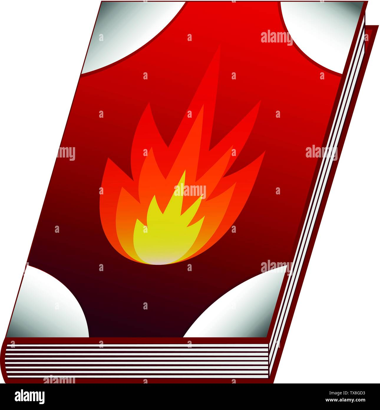 Spell book of fire element isolated on white background. Vector illustration for any design. - Stock Image