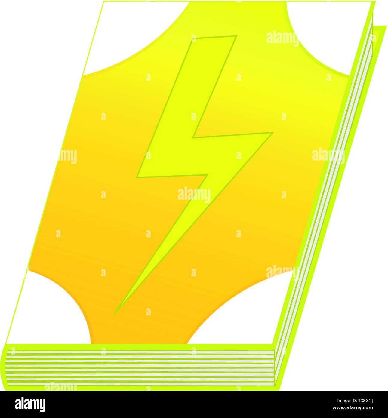 Spell books of lightning element isolated on white background. Vector illustration for any design. - Stock Image