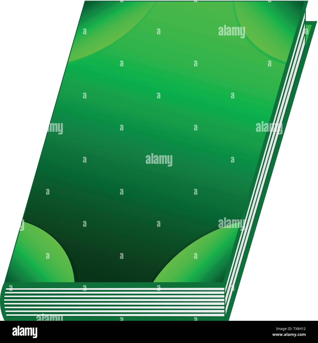 Green book isolated on white background. Ancient book with alchemy recipes and mystic spells and enchantments. Vector illustration for any design. - Stock Image