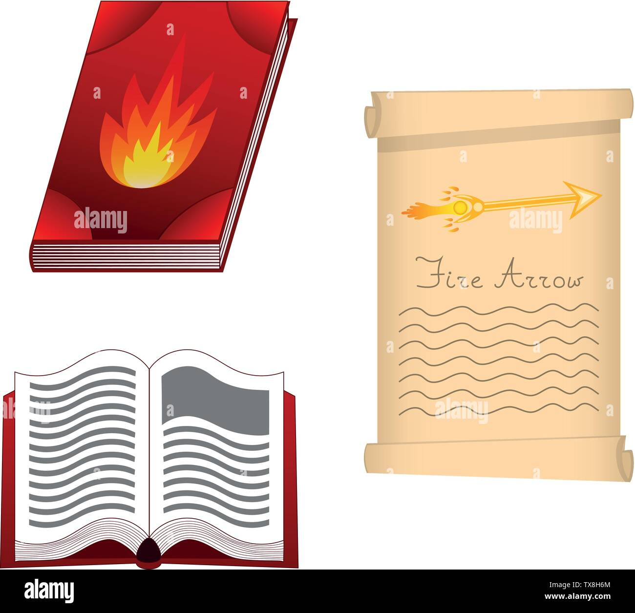 Spell book of fire element for Your Design, Game, Card. Fire Arrow. Ancient book with mystic spells and enchantments. Isolated GUI design elements. Ve - Stock Image