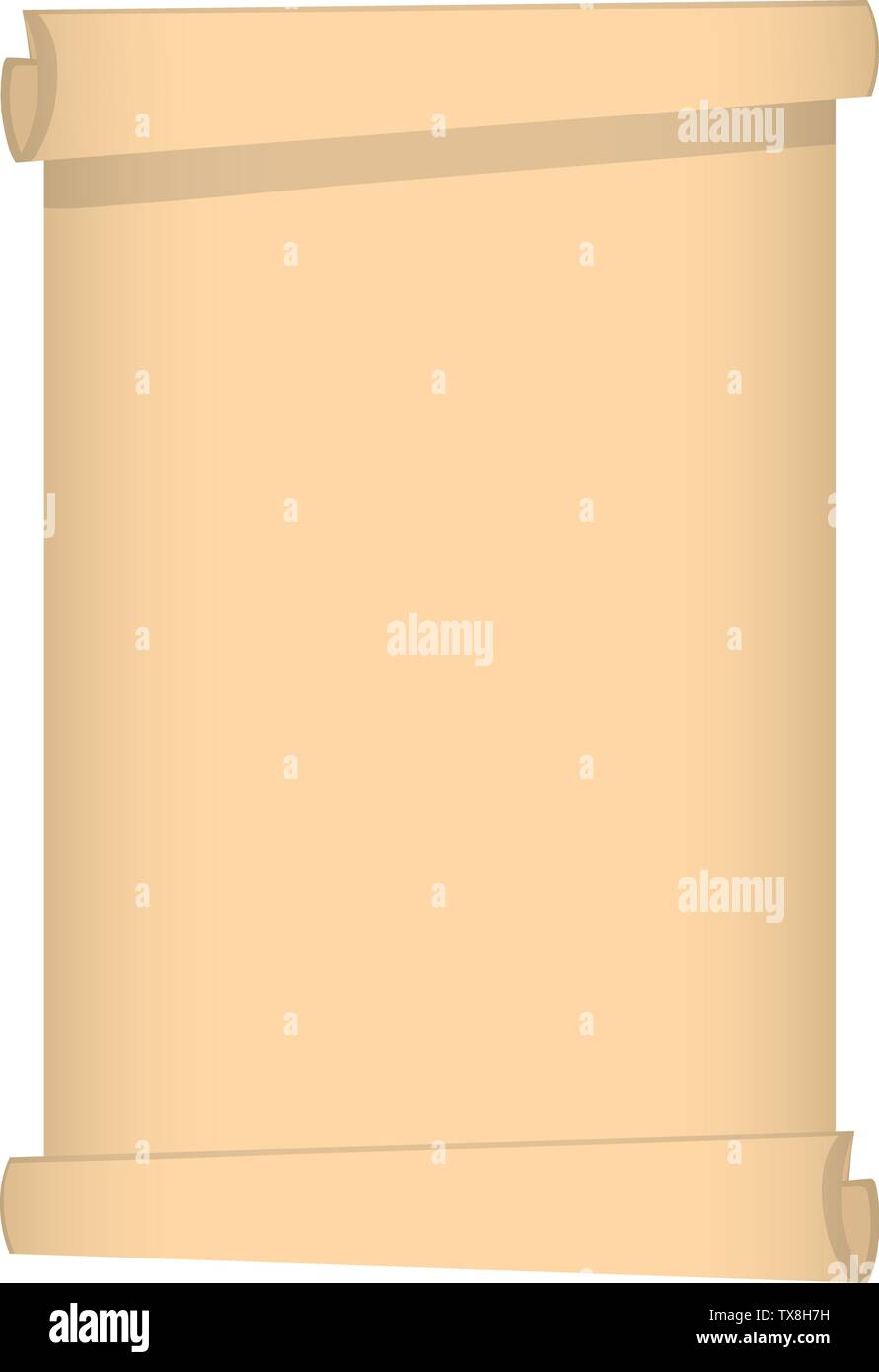 Scroll of Papyrus isolated on white background. Vector illustration for Your Design, Game, Card. - Stock Image