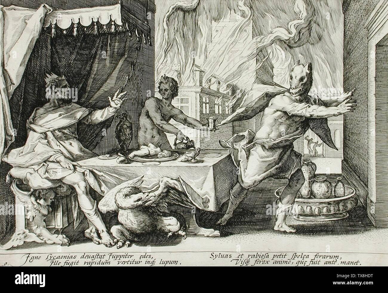 'Lycaon Transformed into a Wolf; English:  Holland, published 1589 Book: Metamorphoses by Ovid, book 1, plate 9 Prints; engravings Engraving Graphic Arts Council Curatorial Discretionary Fund (M.71.76.9) Prints and Drawings Français: Lycaon. Gravure d'Hendrik Goltzius (1558-1617) pour les Métamorphoses d'Ovide, livre I, 209 et suiv.; Published 1589; ' - Stock Image