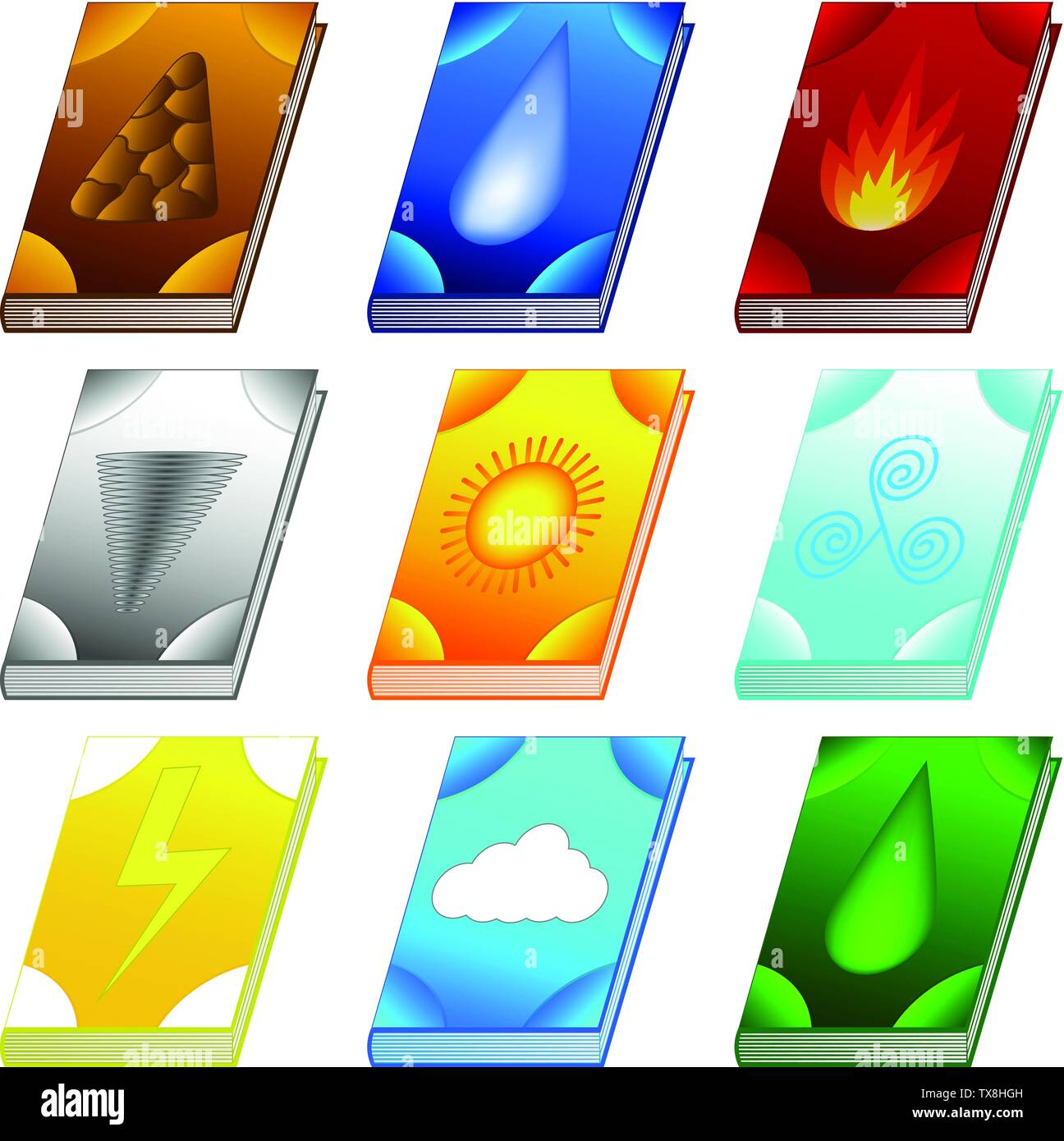 Set of Spell books for Your Design, Game, Card. Ancient books with alchemy recipes and mystic spells and enchantments. Isolated GUI design elements. V - Stock Image