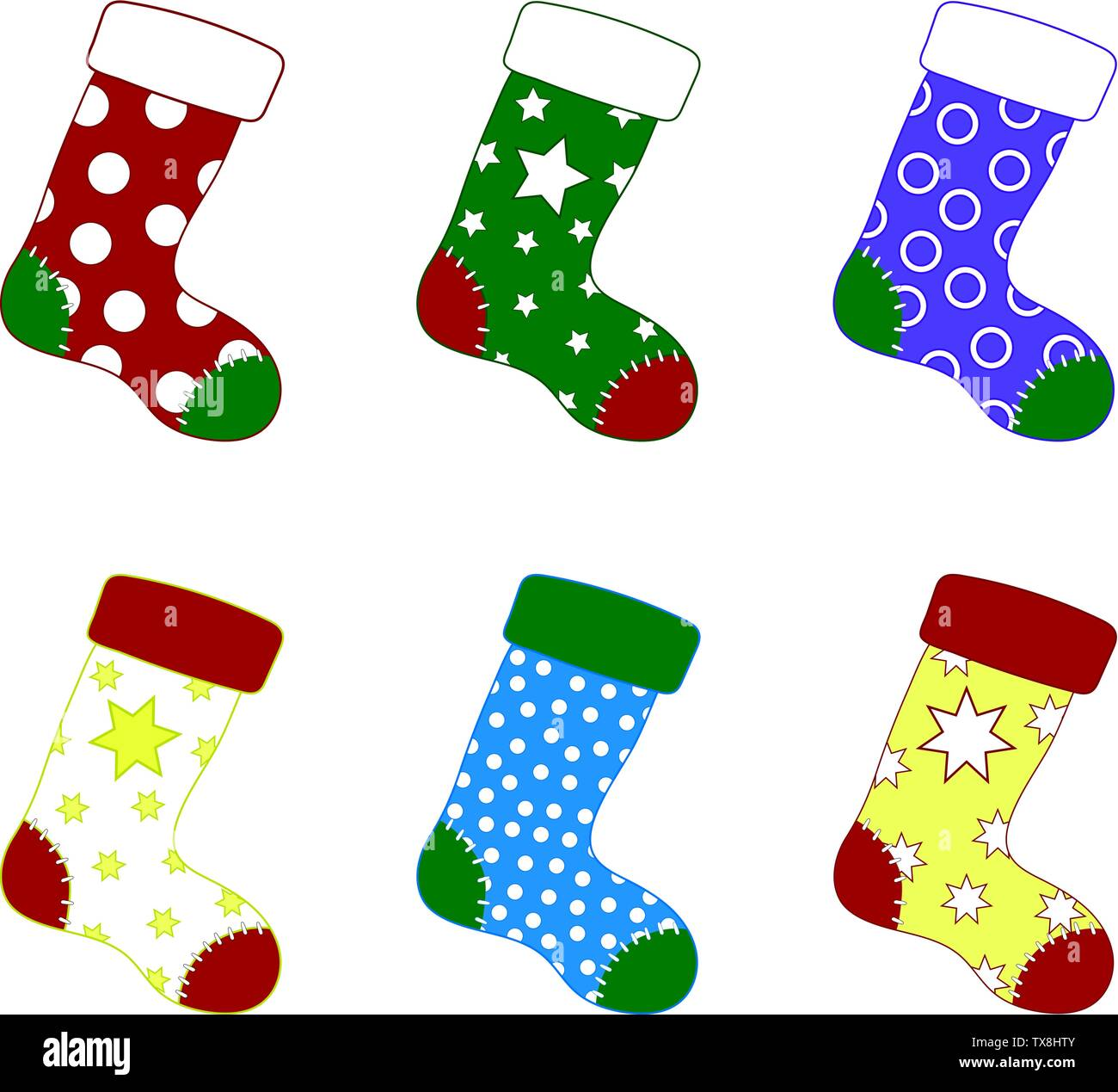 Set of Colorful Christmas Socks. Different Sockings in Cartoon Flat Style. Vector illustration for Your Design. - Stock Vector