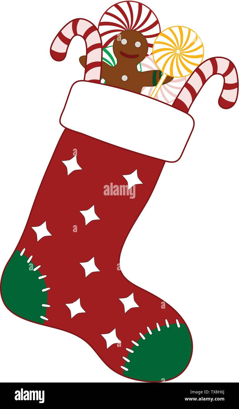 Christmas Stocking with Colorful Candies and Gingerbread Man. Decorative Red Sock for Christmas Holiday. Vector Illustration for Your Design. - Stock Vector
