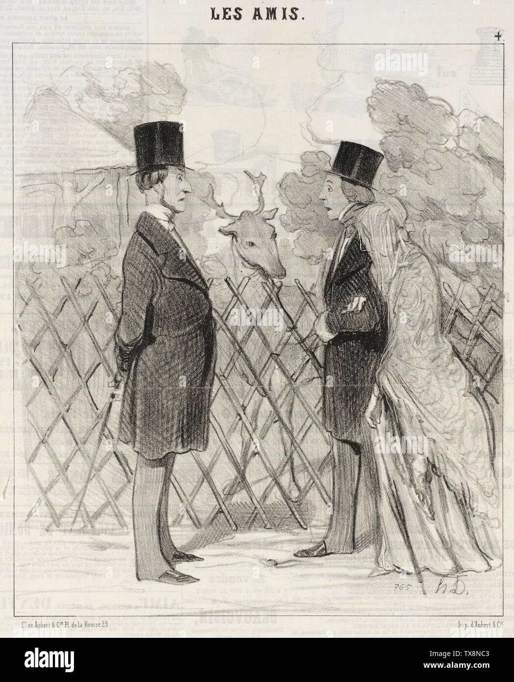 'Madame Cabassol se promène...; English:  France, 1845 Series: Les Amis, no. 4 Periodical: Le Charivari, 18 May 1845 Prints; lithographs Lithograph Sheet: 9 1/8 x 7 13/16 in. (23.18 x 19.84 cm) Gift of Mrs. Florence Victor from The David and Florence Victor Collection (M.91.82.205) Prints and Drawings; 1845date QS:P571,+1845-00-00T00:00:00Z/9; ' - Stock Image