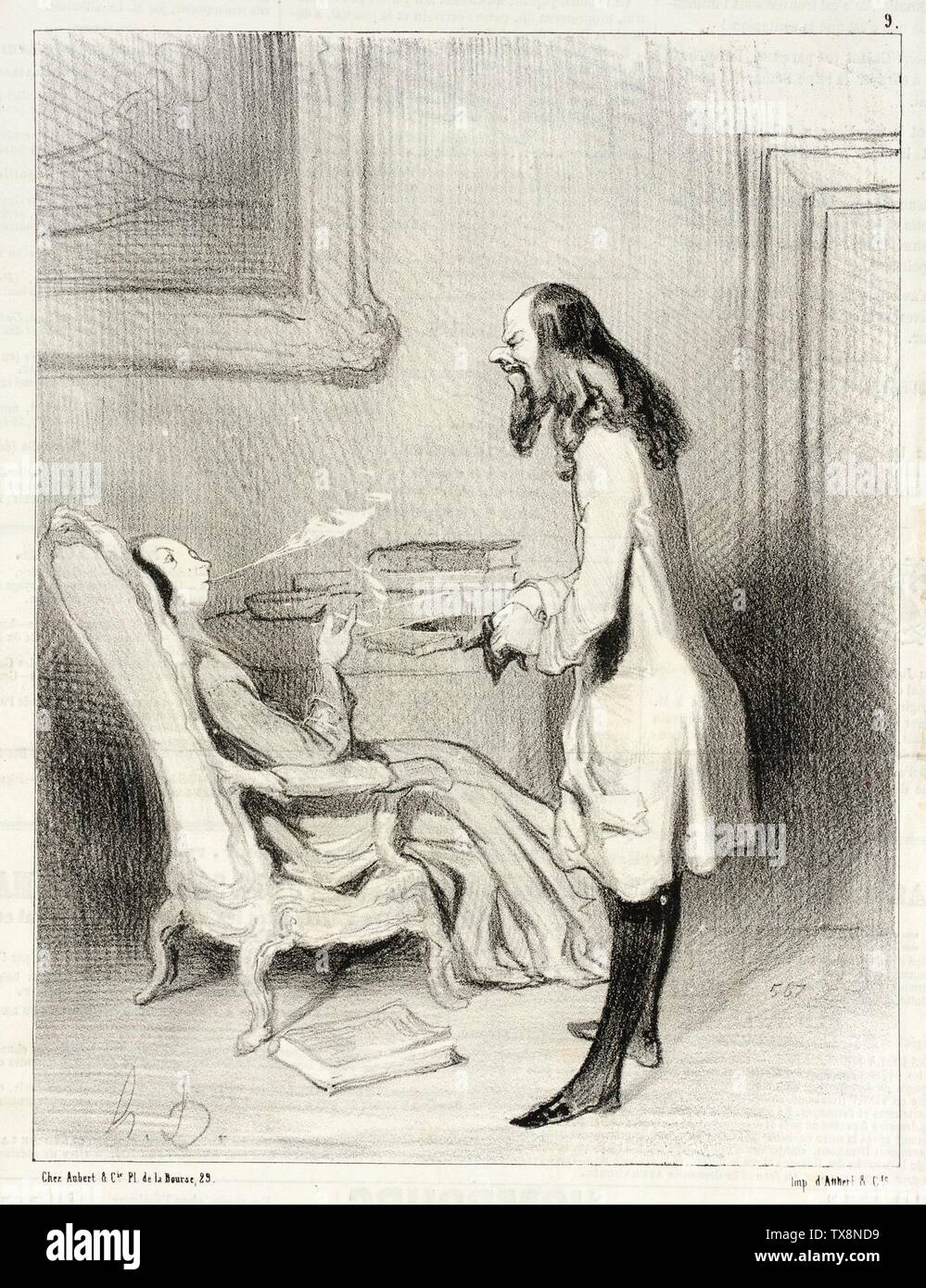 'Madame, comment trouvez-vouz cette cigarette?; English:  France, 1844 Series: Les Bas-blues, no. 9 Periodical: Le Charivari, 1 March 1844 Prints; lithographs Lithograph Sheet: 9 1/4 x 7 1/16 in. (23.5 x 17.94 cm) Gift of Mrs. Florence Victor from The David and Florence Victor Collection (M.91.82.169) Prints and Drawings; 1844date QS:P571,+1844-00-00T00:00:00Z/9; ' - Stock Image