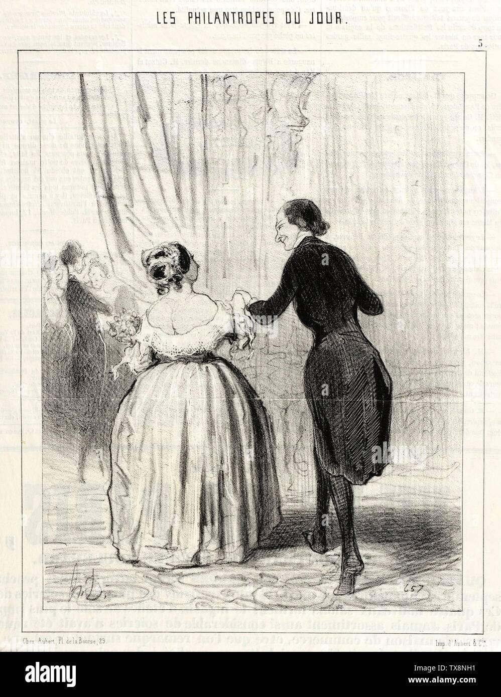 'Madame... ce n'est pas assez que d'avoir dansé au benéfice de ces pauvres Polonais...; English:  France, 1844 Series: Les Philantropes du jour, plate 5 Periodical: Le Charivari, 27 September 1844 Prints; lithographs Lithograph Sheet: 8 5/8 x 6 13/16 in. (21.91 x 17.3 cm) Gift of Norman and Leona Terry (AC1993.2.2) Prints and Drawings; 1844date QS:P571,+1844-00-00T00:00:00Z/9; ' - Stock Image