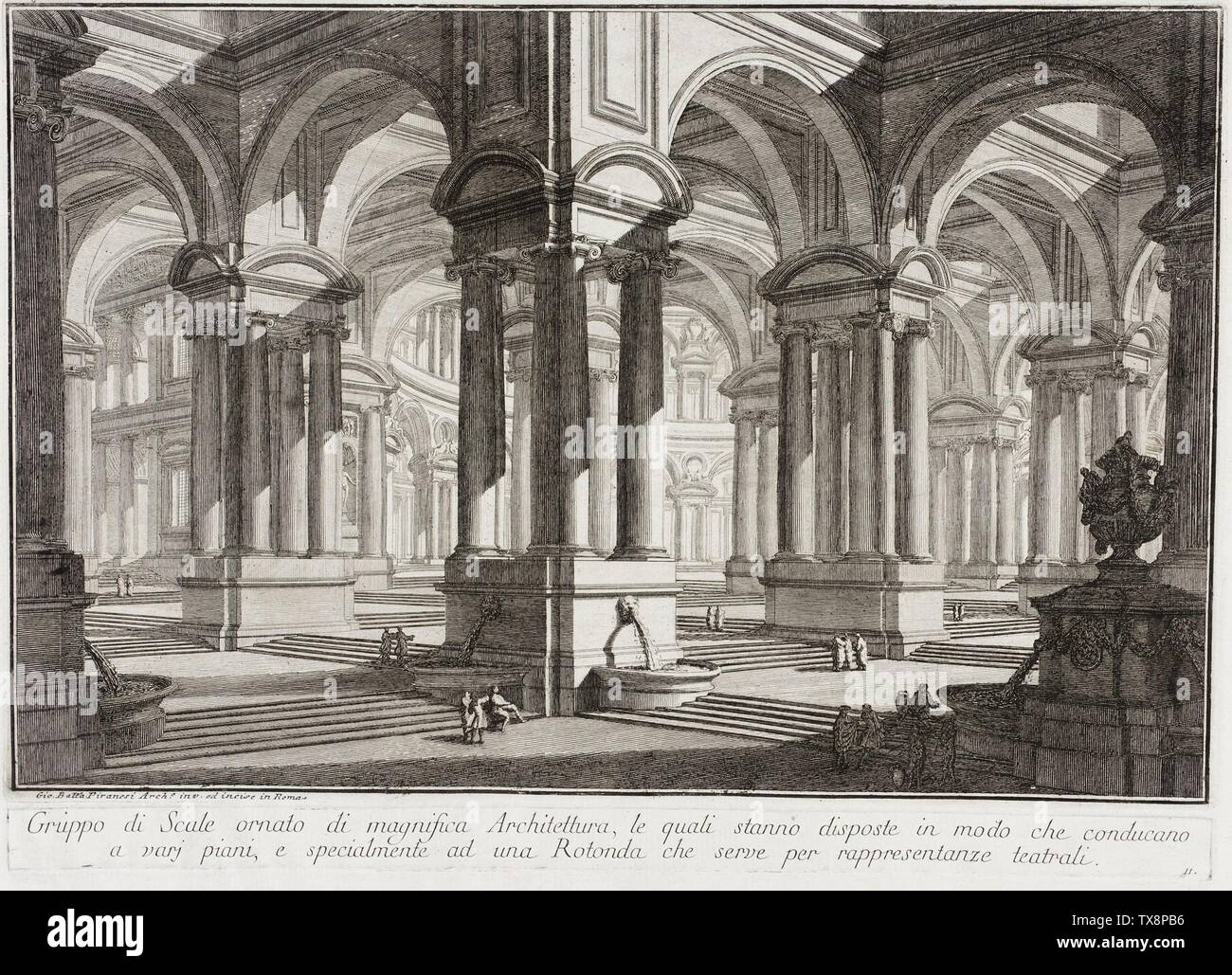 """""""Magnificent Architectural Space; English:  Italy, circa 1743 Alternate Title: Loco magnifico d'Architettura Series: Prima Parte di Architetture e Prospettive, plate 11 Edition: First edition, third issue Prints; engravings Etching with engraving and drypoint Sheet: 13 3/4 x 18 1/16 in. (34.93 x 45.88 cm); plate: 9 13/16 x 14 3/4 in. (24.92 x 37.47 cm) Purchased with funds provided by Patricia and Michael Forman (AC1995.54.1.11) Prints and Drawings; circa 1743 date QS:P571,+1743-00-00T00:00:00Z/9,P1480,Q5727902; """" Stock Photo"""