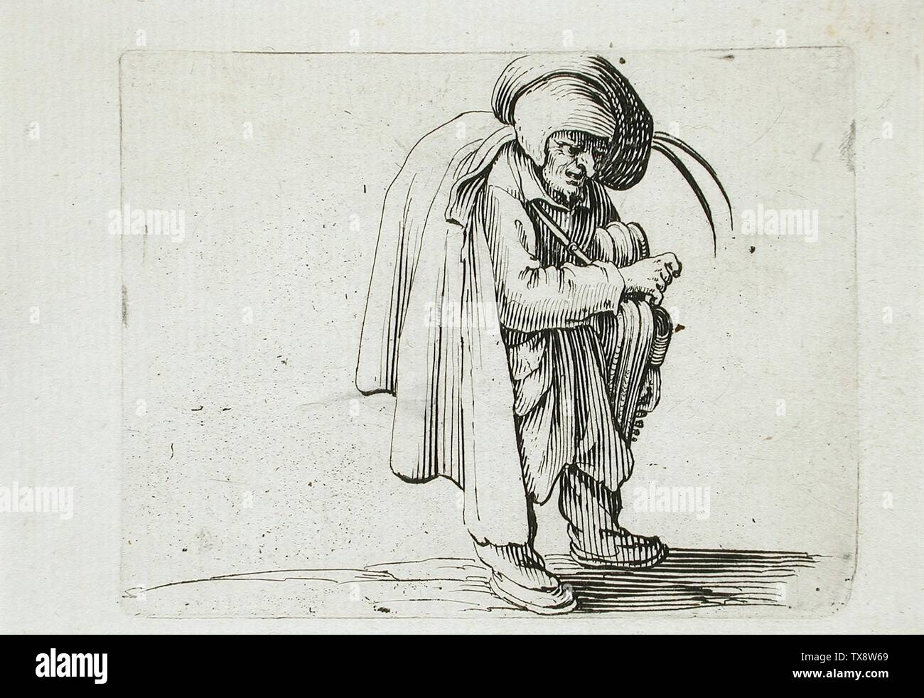 'Man with a Large Hunchback Adorned with a Row of Buttons; English:  France, 1616 Alternate Title: L'homme au Gros Dos Orné d'Une Rangeé de Boutons Series: Les Gobbi, plate 10 Prints; engravings Etching with engraving Anonymous gift (M.65.26.27) Prints and Drawings; 1616date QS:P571,+1616-00-00T00:00:00Z/9; ' - Stock Image