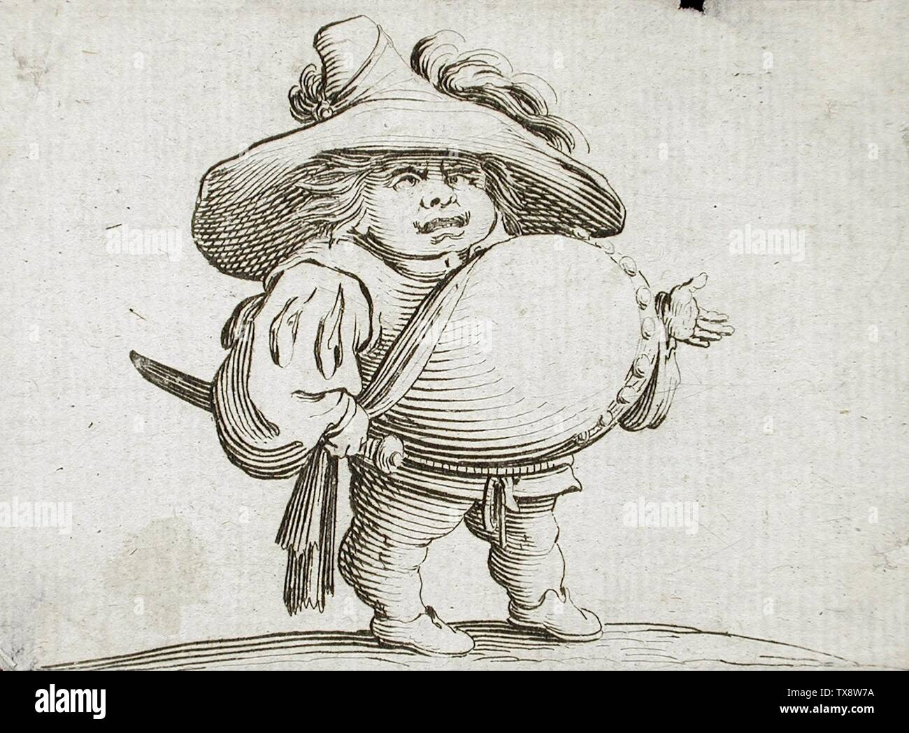 'Man with Large Belly Adorned with a Row of Buttons; English:  France, circa 1616 Alternate Title: L'homme au gros ventre orné d'une rangeé de boutons Series: Les Gobbi Prints; etchings Etching Gift of Alfred and Esther Norris (M.83.318.15) Prints and Drawings; circa 1616 date QS:P571,+1616-00-00T00:00:00Z/9,P1480,Q5727902; ' - Stock Image