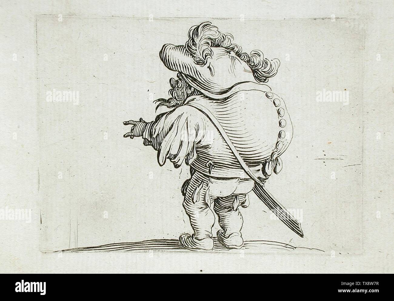 'Man with a Drooping Belly and a Very Grand Hat; English:  France, 1616 Alternate Title: L'homme au Ventre Tombant et au Chapeau Très Éleve Series: Les Gobbi, plate 5 Prints; engravings Etching with engraving Anonymous gift (M.65.26.28) Prints and Drawings; 1616date QS:P571,+1616-00-00T00:00:00Z/9; ' - Stock Image