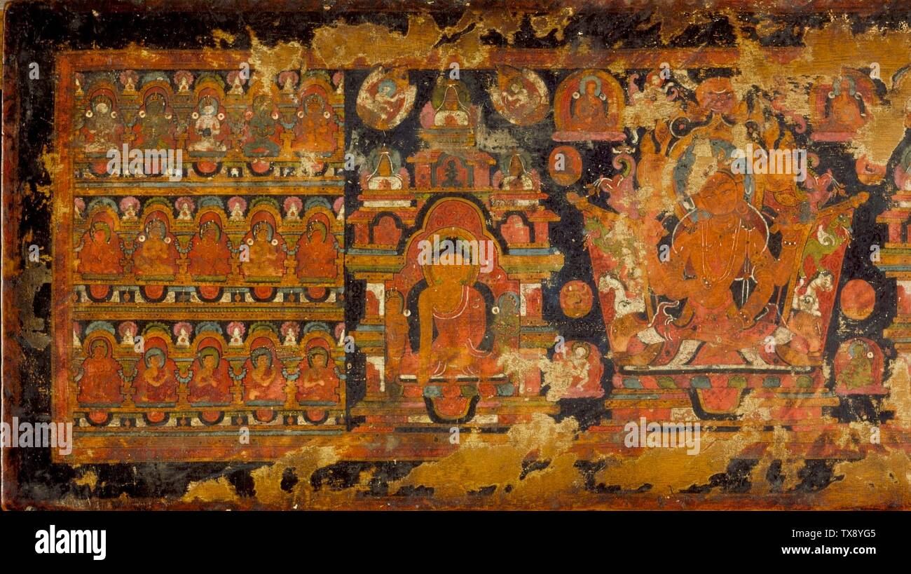 'Manuscript Cover with Prajnaparamita Flanked by Buddha Shakyamuni (left) and Amitayus, the Buddha of Eternal Life (right), From a Prajnaparamita (The Perfection of Wisdom) Manuscript; English:  Central or Western Tibet, 15th century Manuscripts Wood with opaque watercolor From the Nasli and Alice Heeramaneck Collection, Museum Associates Purchase (M.71.1.48) South and Southeast Asian Art; 15th century date QS:P571,+1450-00-00T00:00:00Z/7; ' - Stock Image