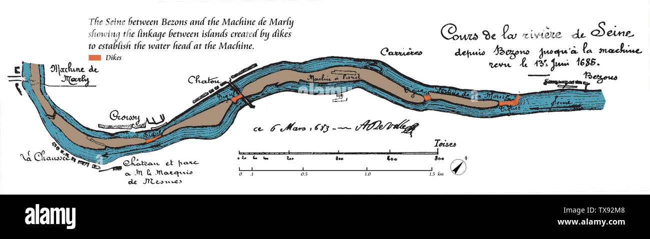 'English: The Seine between Bezons and the Machine de Marly showing the linkage between islands created by dikes to establish the water head at the Machine.; 14 March 2015, 10:46:23; Les Grandes Eaux de Versailles; L.-A. Barbet; ' - Stock Image