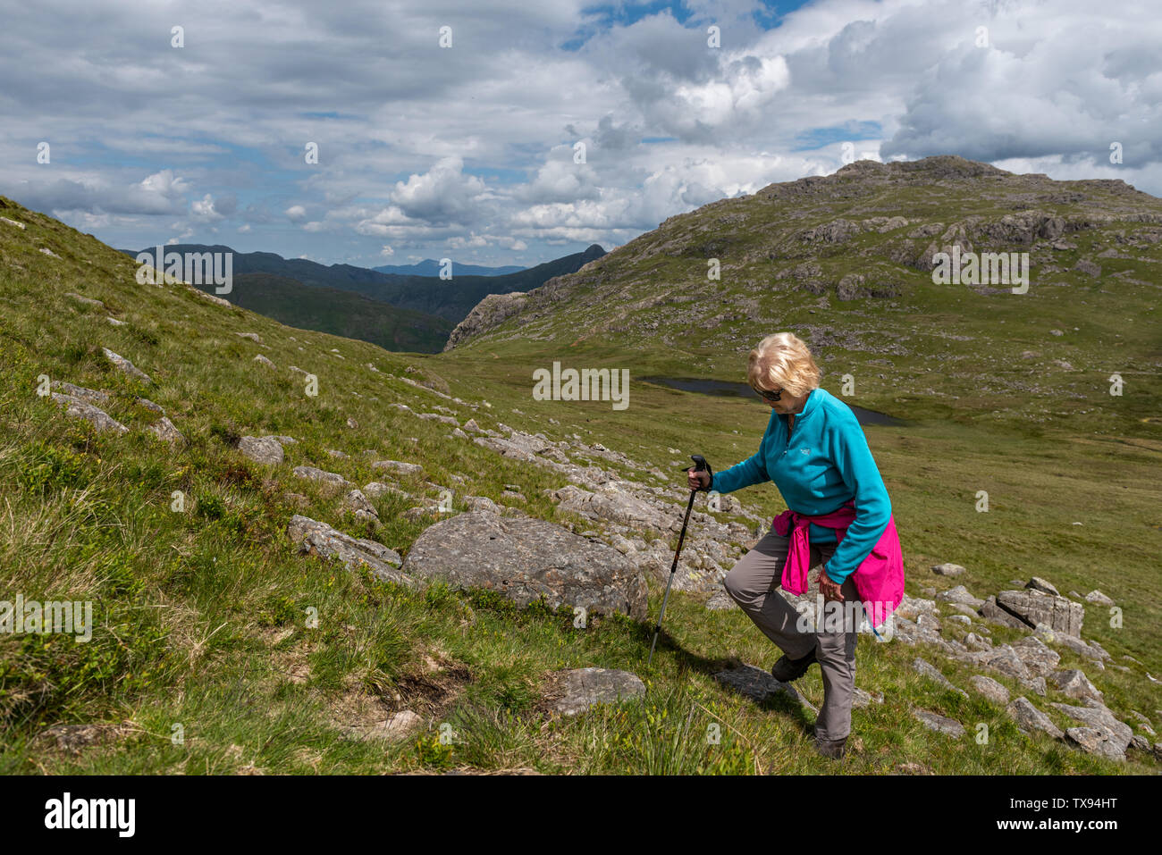 Climbing Cold Pike in South Lakes Cumbria - Stock Image