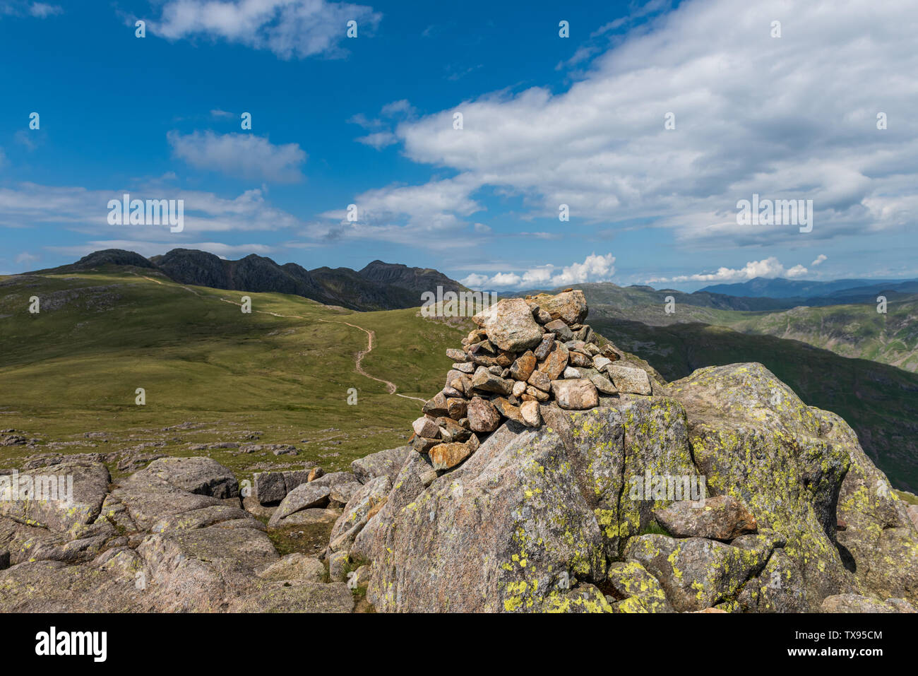 The Summit Cairn on Cold Pike in The Southern Fells of Cumbria Stock Photo