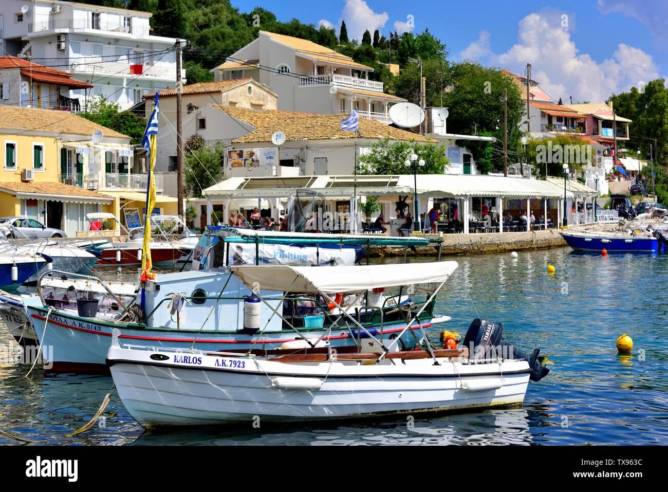 Leisure Boats,Kassiopi bay,Kassopaia,Ionian Islands, Corfu ,Greece Stock Photo
