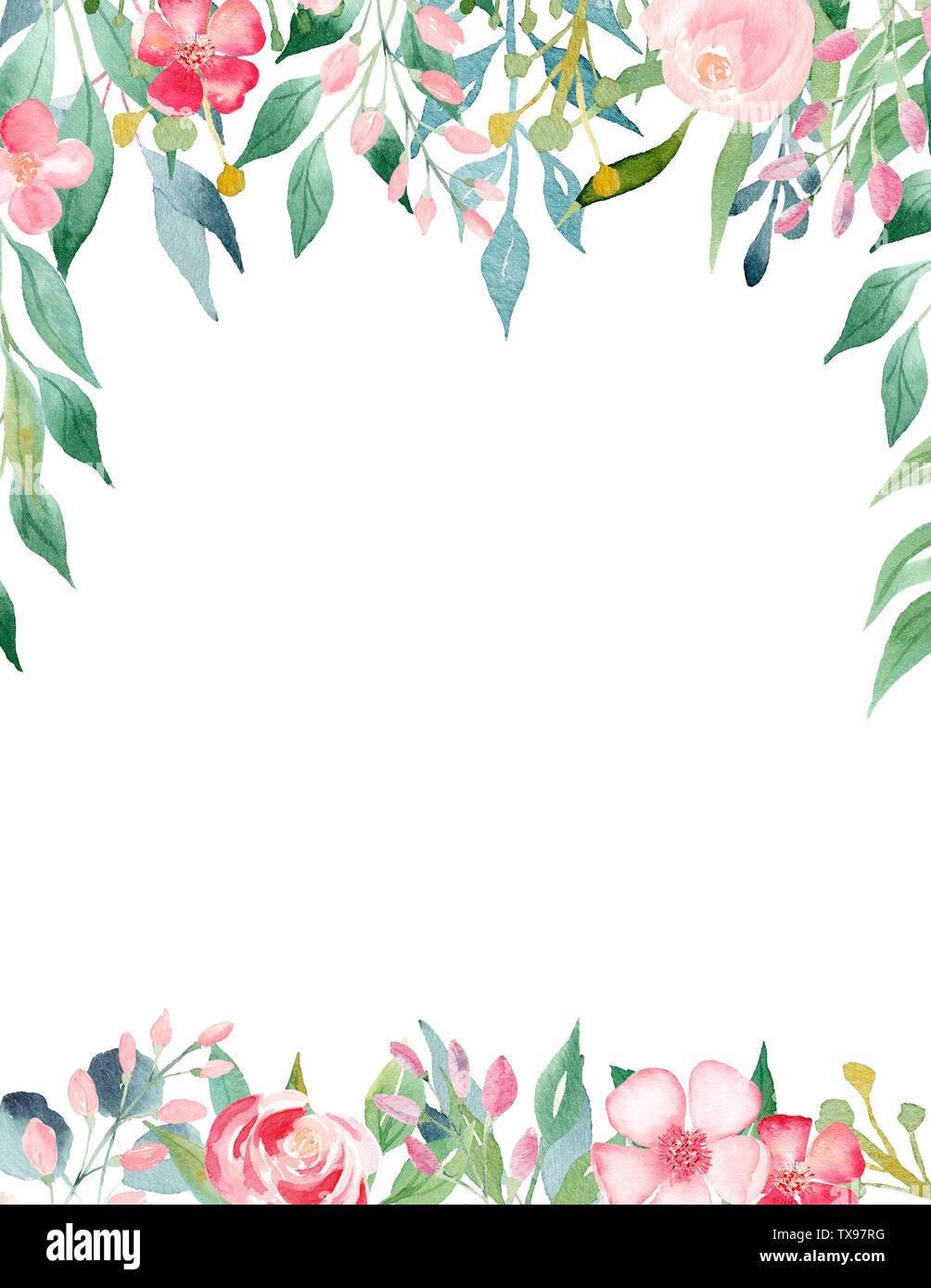 Pink Gentle Blossom Watercolor Hand Drawn Raster Frame Template