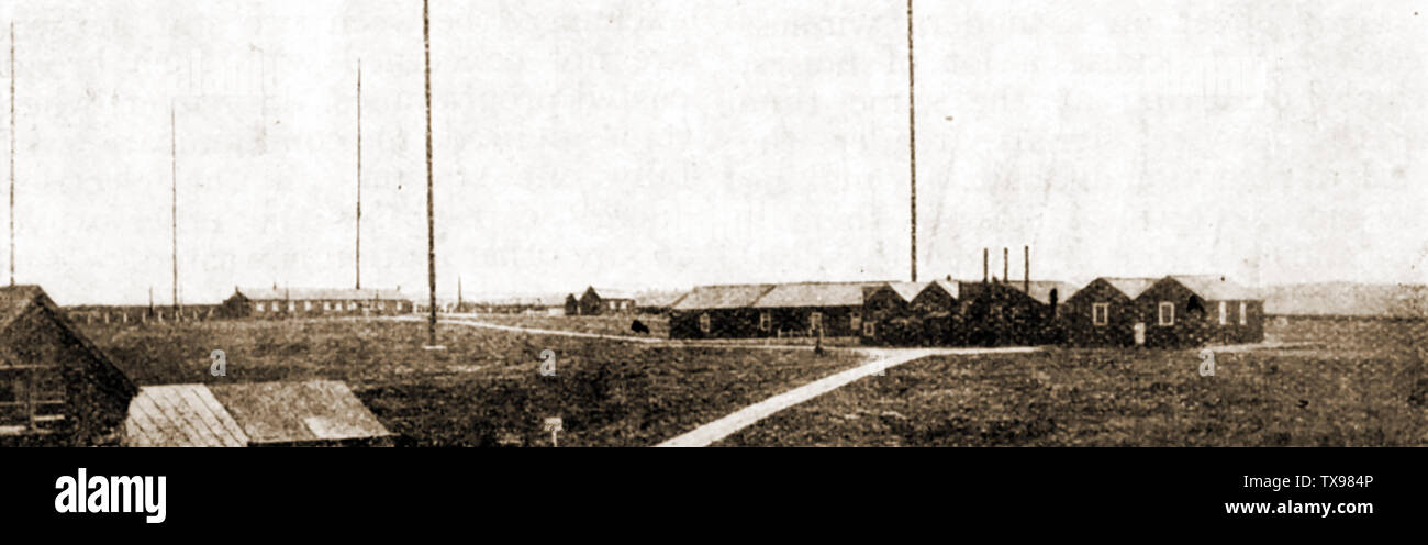 History of wireless and radio communication - The Marconi wireless station at Poldhu in 1921  - Designer was Professor John Ambrose Fleming, Stock Photo