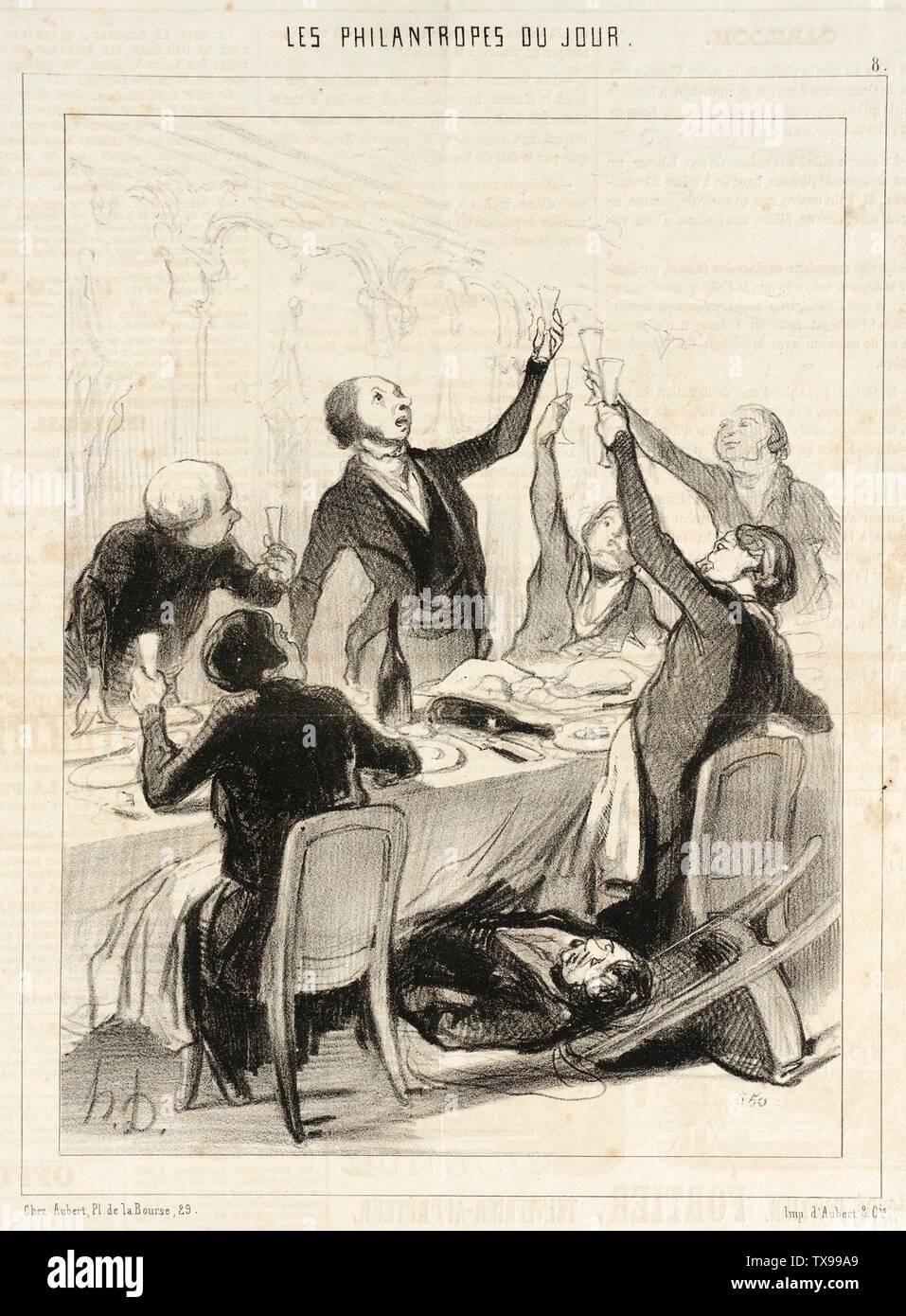 'Messieurs...il nous reste un 43me toast à porter à la Société de Temperance...; English:  France, 1844 Series: Les Philanthropes du jour Periodical: Le Charivari, 12 October 1844 Prints; lithographs Lithograph Gift of Mr. George Longstreet (M.60.19.4) Prints and Drawings; 1844date QS:P571,+1844-00-00T00:00:00Z/9; ' - Stock Image