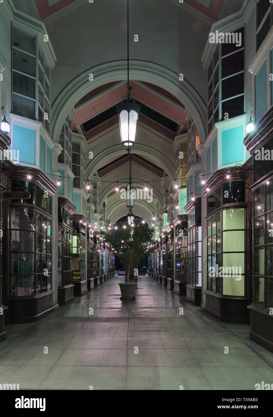 Image of the Burlington Arcade on South Lake Avenue.  The Arcade is a nearly spot-on facsimile of its namesake shopping center in London. Stock Photo