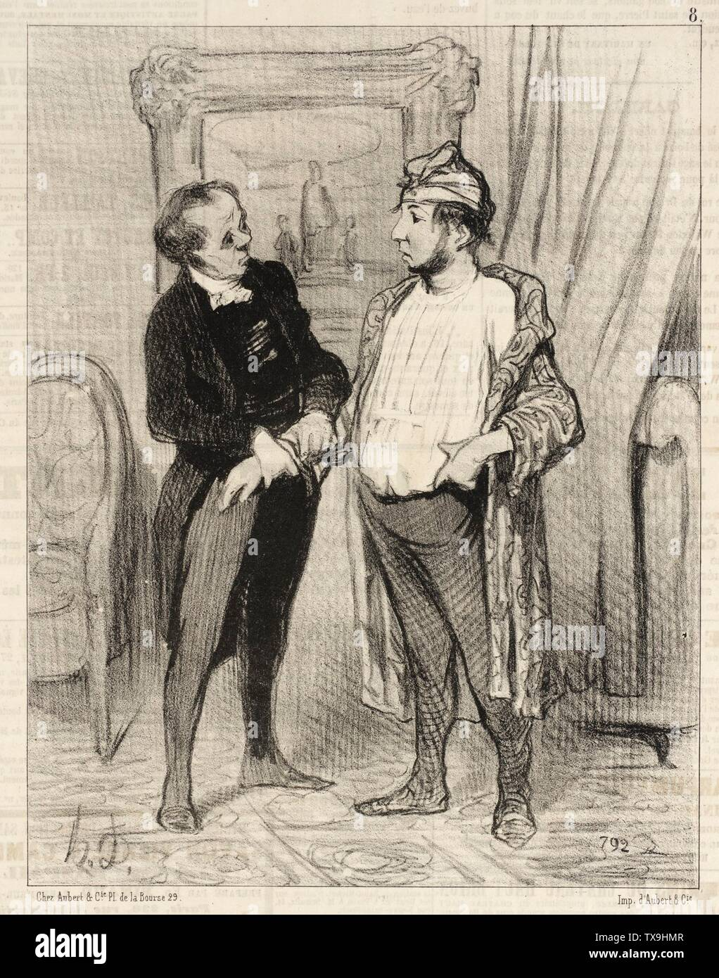 'Mon cher je t'assure que je te...; English:  France, 1845 Series: Les Amis, no. 8 Periodical: Le Charivari, 18 August 1845 Prints; lithographs Lithograph Sheet: 9 1/4 x 7 5/16 in. (23.5 x 18.57 cm) Gift of Mrs. Florence Victor from The David and Florence Victor Collection (M.91.82.208) Prints and Drawings; 1845date QS:P571,+1845-00-00T00:00:00Z/9; ' - Stock Image